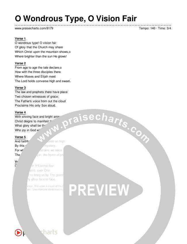 O Wondrous Type, O Vision Fair Lyrics (Traditional Hymn)