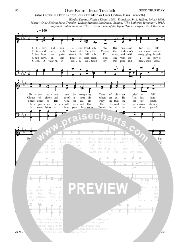 Over Kidron Jesus Treadeth Hymn Sheet (SATB) (Traditional Hymn)