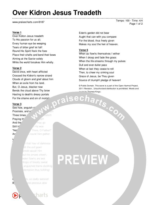 Over Kidron Jesus Treadeth Lyrics (Traditional Hymn)