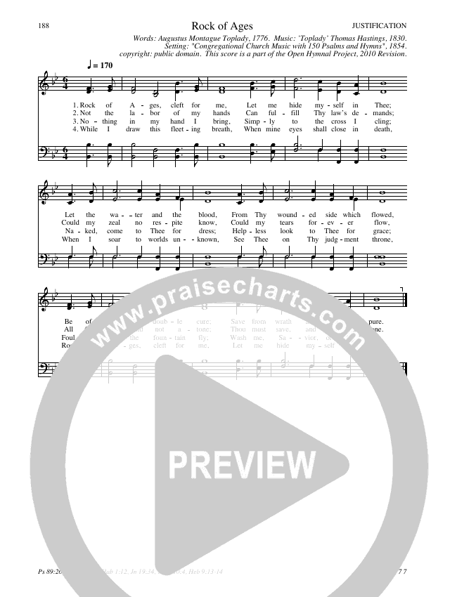 Rock of Ages Hymn Sheet (SATB) (Traditional Hymn)