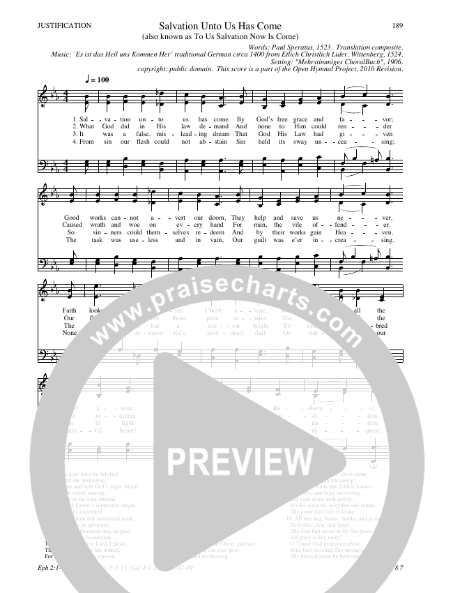 Salvation Unto Us Has Come Hymn Sheet (SATB) (Traditional Hymn)