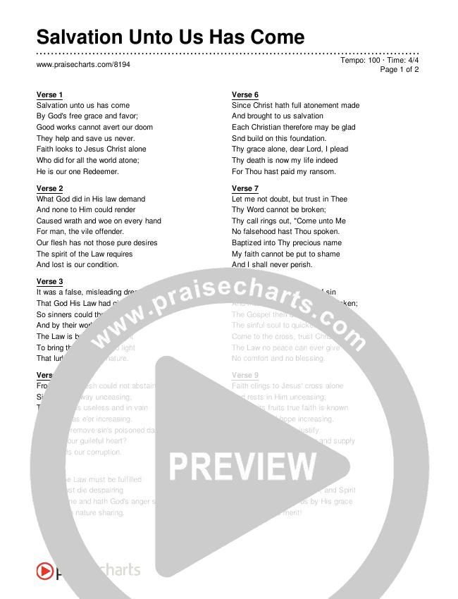 Salvation Unto Us Has Come Lyrics (Traditional Hymn)