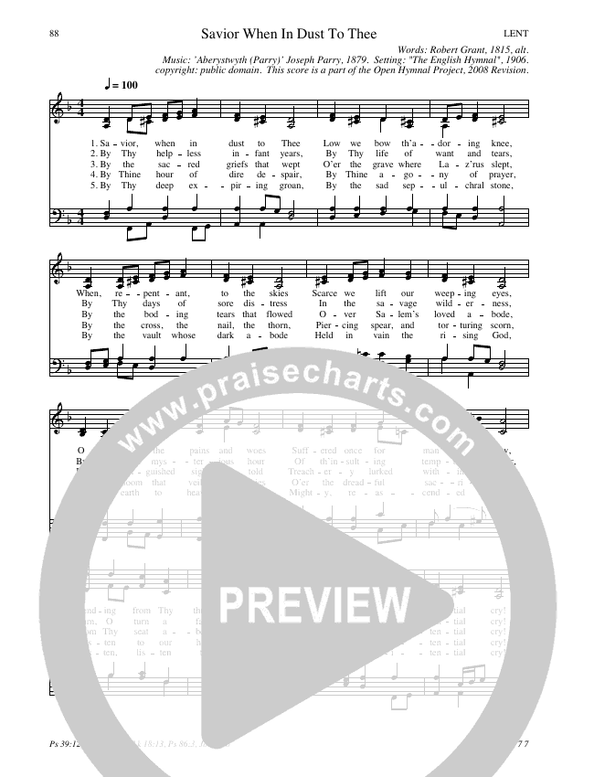 Savior When In Dust To Thee Hymn Sheet (SATB) (Traditional Hymn)