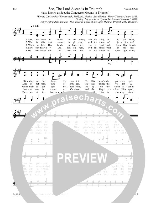 See, The Lord Ascends In Triumph Hymn Sheet (SATB) (Traditional Hymn)