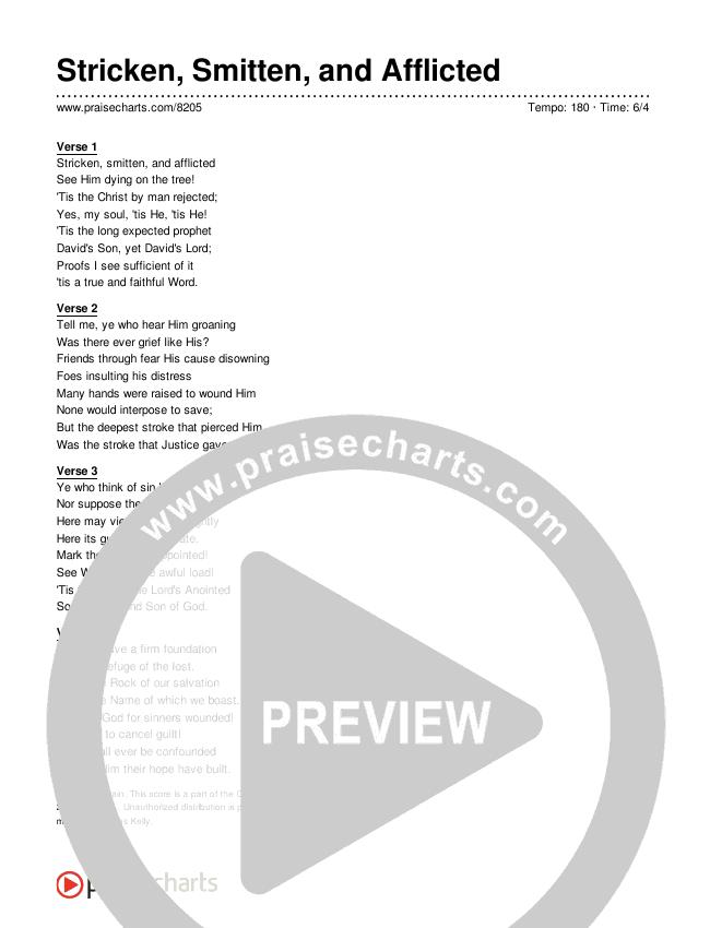 Stricken, Smitten, and Afflicted Lyrics (Traditional Hymn)