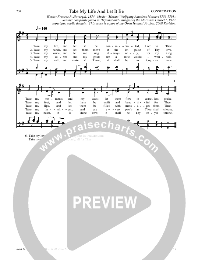 Take My Life And Let It Be Hymn Sheet (SATB) (Traditional Hymn)