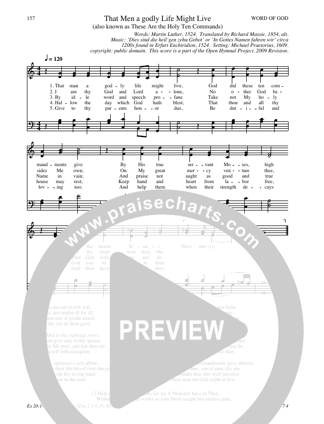 That Men a godly Life Might Live Hymn Sheet (SATB) (Traditional Hymn)