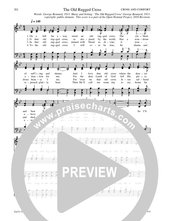 The Old Rugged Cross Hymn Sheet (SATB) (Traditional Hymn)