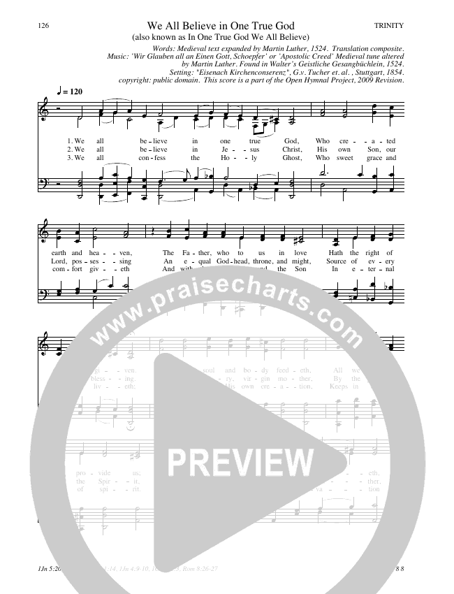 We All Believe In One True God Hymn Sheet (SATB) (Traditional Hymn)