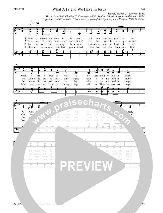 What A Friend We Have In Jesus Hymn Sheet (SATB) (Traditional Hymn)