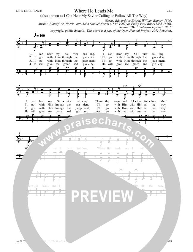 Where He Leads Me Hymn Sheet (SATB) (Traditional Hymn)