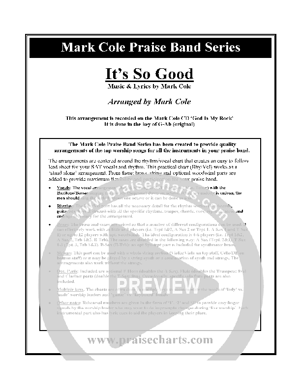 It's So Good Cover Sheet (Mark Cole)