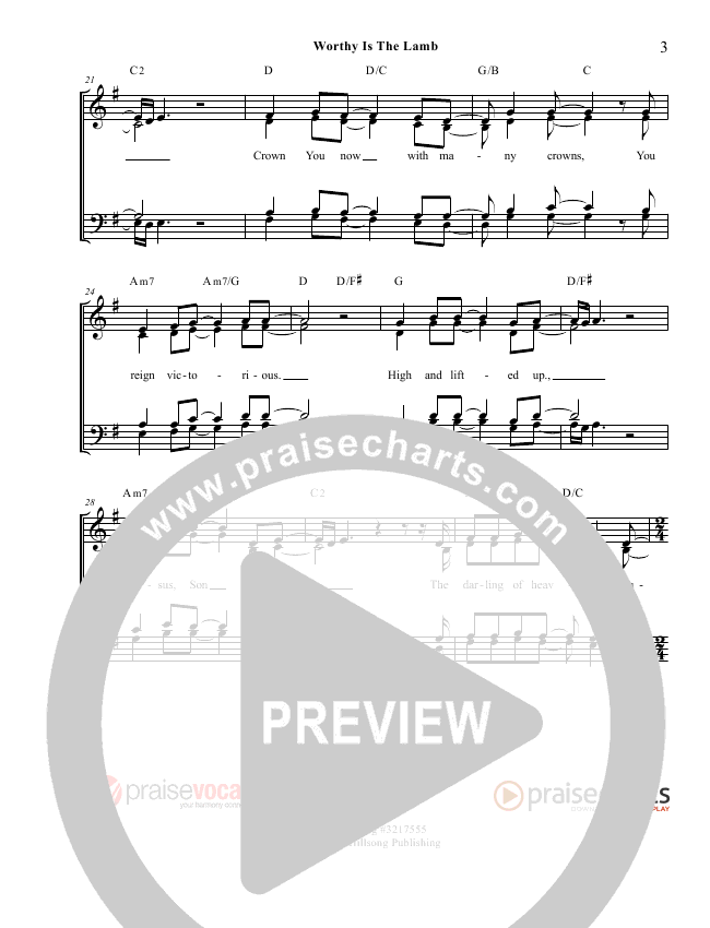 Worthy Is The Lamb Lead Sheet (PraiseVocals)