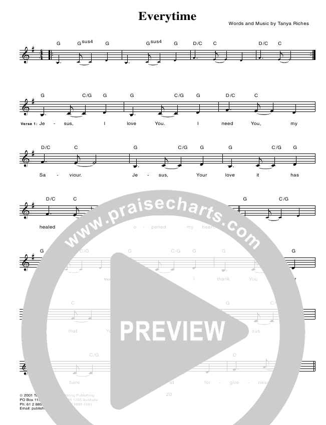 Everytime Lead & Piano (Hillsong Worship)
