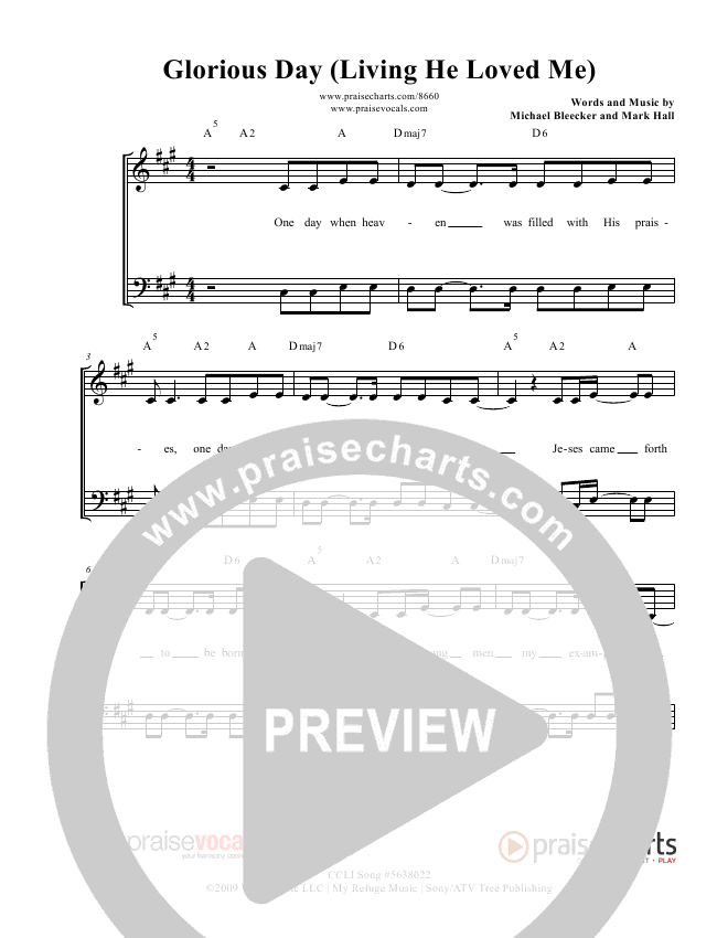 Glorious Day (Living He Loved Me) Lead Sheet (PraiseVocals)