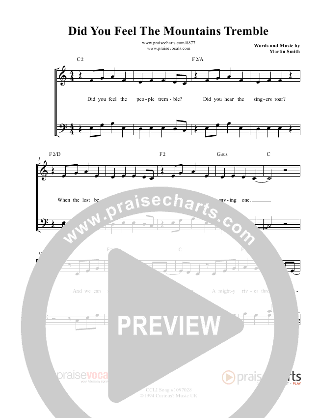Did You Feel the Mountains Tremble Lead Sheet (PraiseVocals)