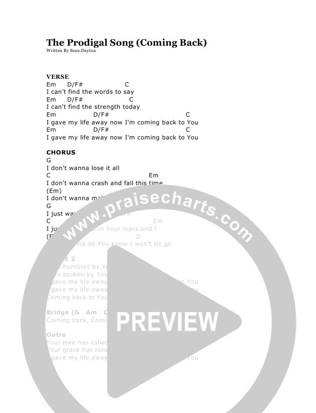 The Prodigal Song Chords Sean Dayton Praisecharts