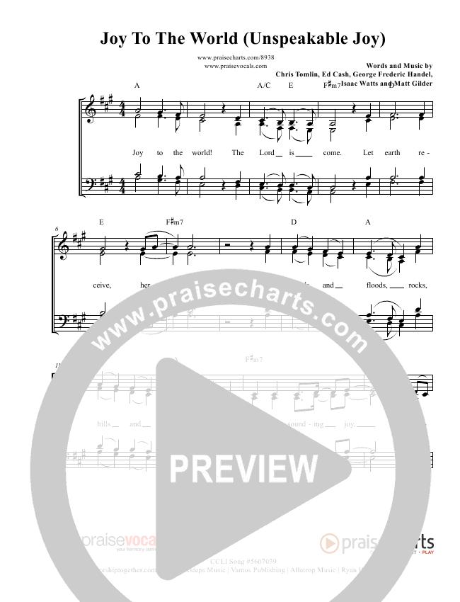 Joy To The World (Unspeakable Joy) Lead Sheet (PraiseVocals)
