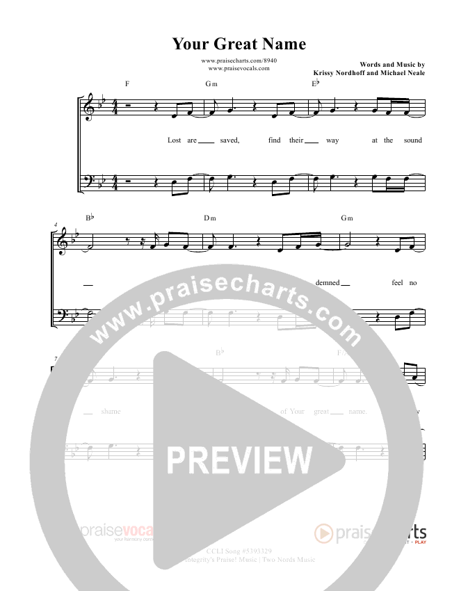 Your Great Name Lead Sheet (PraiseVocals)