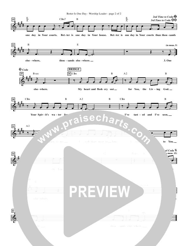 Better Is One Day (Re-Recorded) Lead Sheet (Matt Redman)
