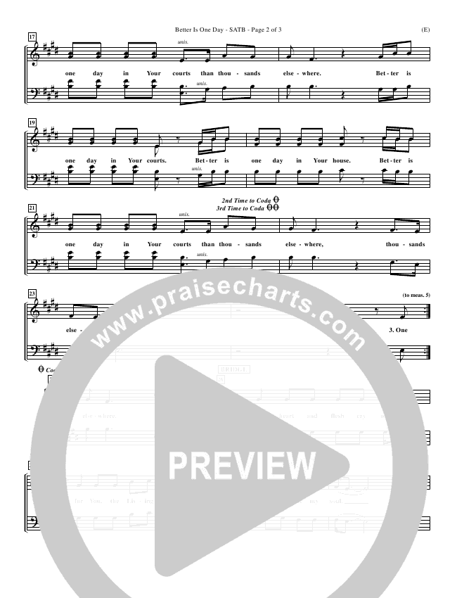Better Is One Day (Re-Recorded) Choir Sheet (SATB) (Matt Redman)