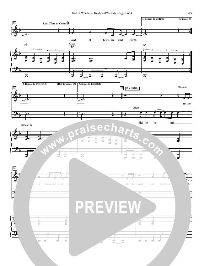 God Of Wonders Piano Sheet (Mark Byrd)