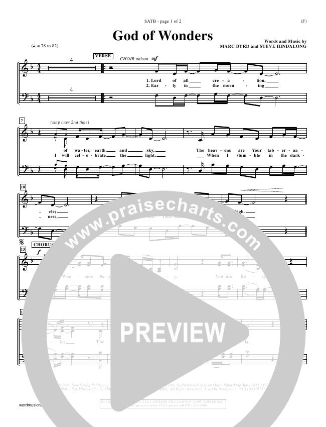 God Of Wonders Choir Sheet (SATB) (Mark Byrd)