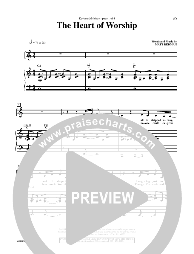 The Heart Of Worship Piano Sheet (Matt Redman)
