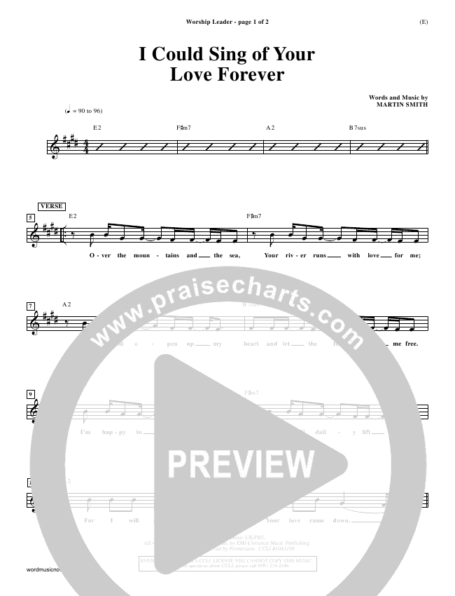 I Could Sing Of Your Love Forever Lead Sheet (Delirious)