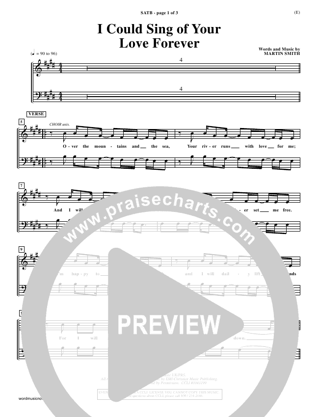 I Could Sing Of Your Love Forever Choir Sheet (SATB) - Delirious ...