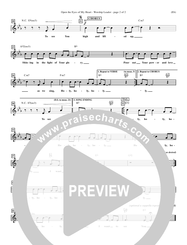 Open The Eyes Of My Heart Piano/Vocal Pack (Paul Baloche)