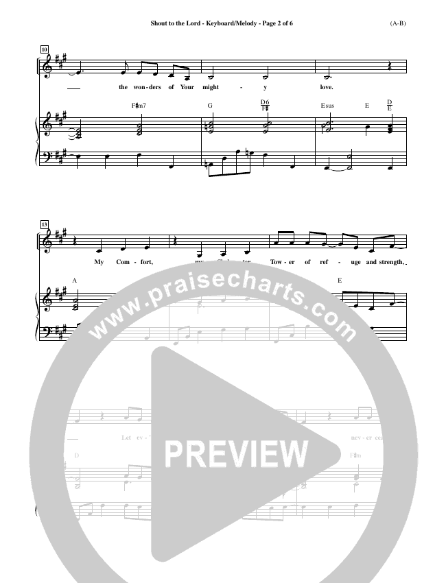 Shout To The Lord Piano Sheet (Darlene Zschech)