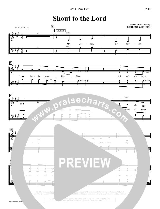 Shout To The Lord Choir Sheet (SATB) (Darlene Zschech)