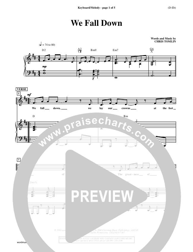 We Fall Down Piano Sheet (Chris Tomlin)