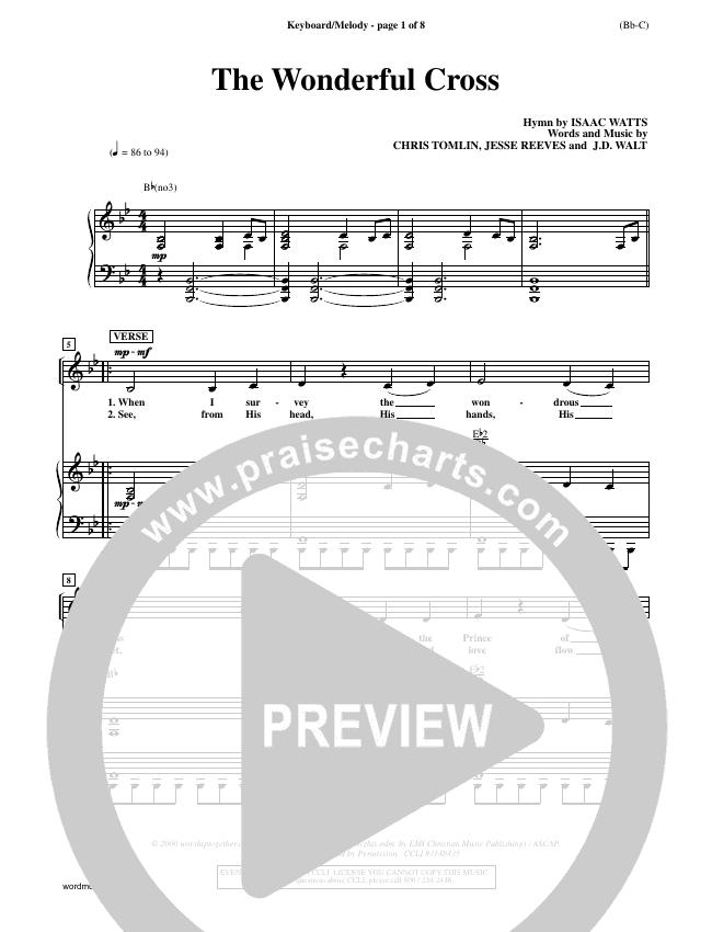 The Wonderful Cross Piano Sheet (Chris Tomlin)