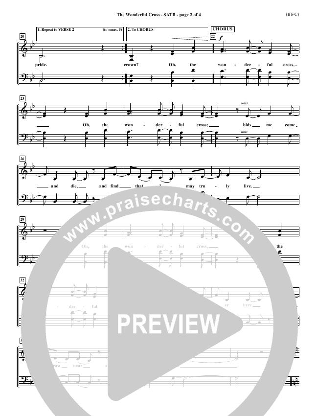 The Wonderful Cross Choir Sheet (SATB) (Chris Tomlin)
