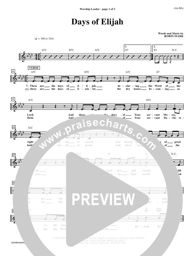 Days of Elijah Lead Sheet - Robin Mark | PraiseCharts