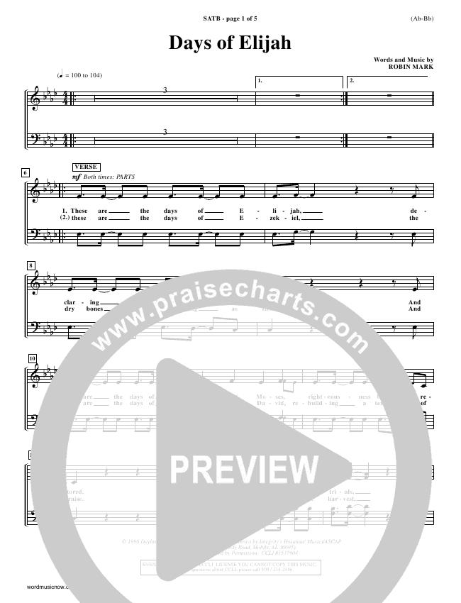 Days of Elijah Choir Sheet (SATB) - Robin Mark   PraiseCharts