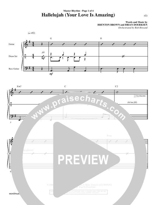Hallelujah (Your Love Is Amazing) Rhythm Chart (Brian Doerksen)