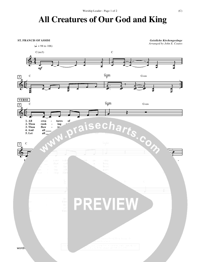 All Creatures Of Our God And King Lead Sheet (St. Francis of Assisi)
