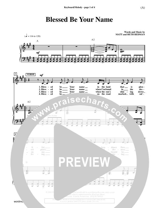 Blessed Be Your Name Piano Sheet (Matt Redman)