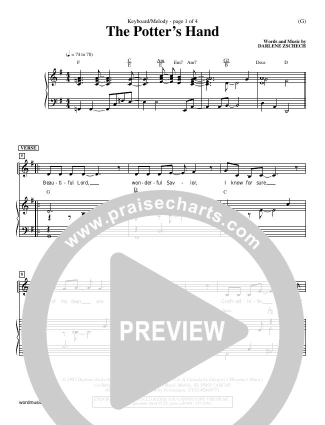 The Potter's Hand Piano Sheet (Darlene Zschech)