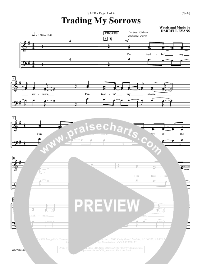 Trading My Sorrows Choir Sheet Satb Darrell Evans Praisecharts