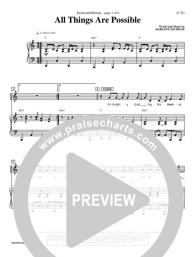 All Things Are Possible Piano Sheet (Darlene Zschech)
