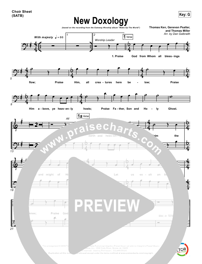 New Doxology Choir Sheet (SATB) (Gateway Worship)