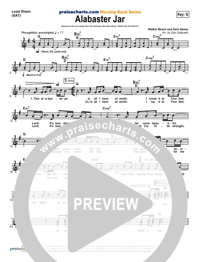 Alabaster Jar Lead Sheet Pianovocal Gateway Worship Praisecharts