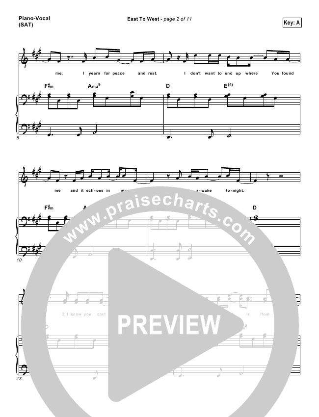 east to west lead sheet piano vocal casting crowns praisecharts. Black Bedroom Furniture Sets. Home Design Ideas