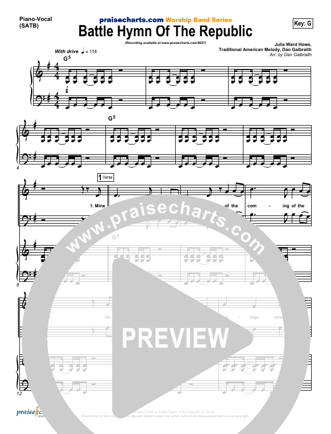 Battle Hymn Of The Republic Piano/Vocal (SATB) (PraiseCharts Band)