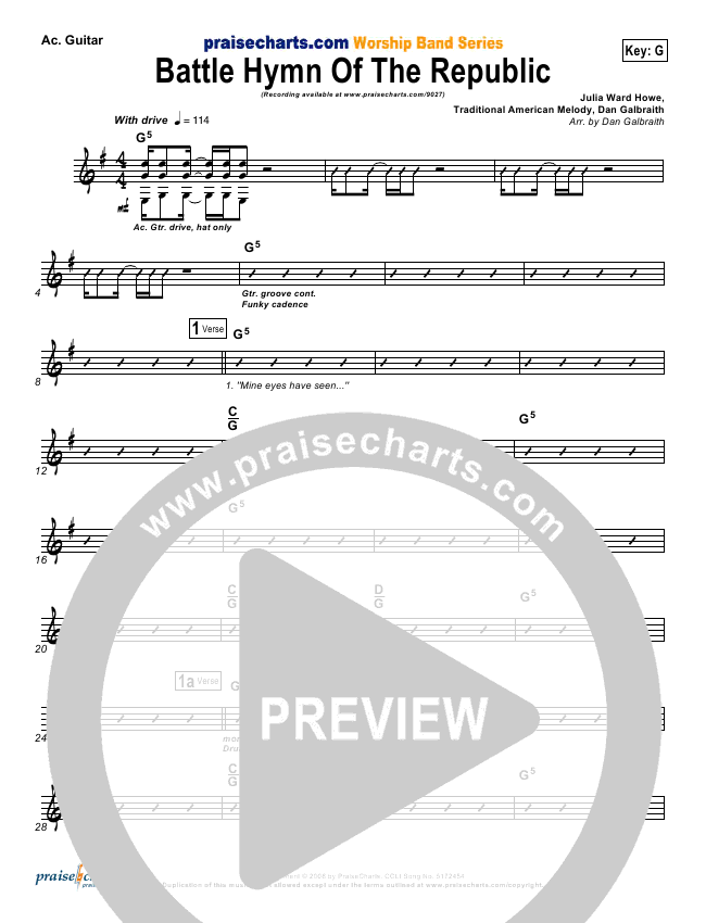 Battle Hymn Of The Republic Rhythm Chart (PraiseCharts Band)