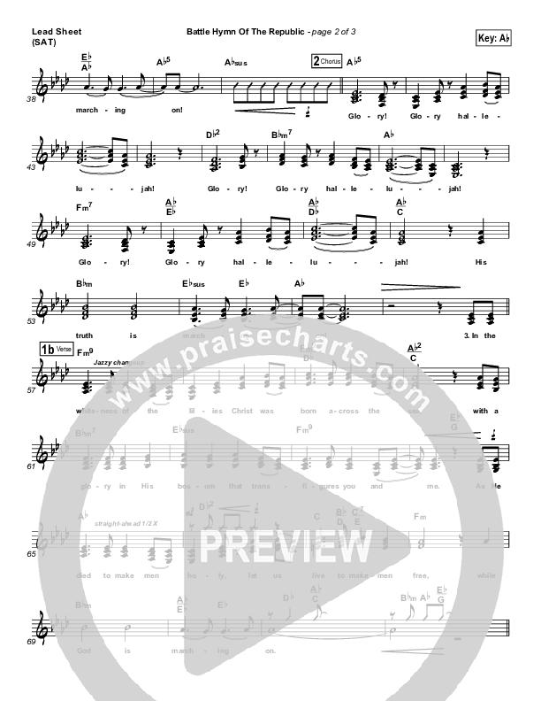 Battle Hymn Of The Republic Lead Sheet (SAT) (PraiseCharts Band / Arr. Dan Galbraith)